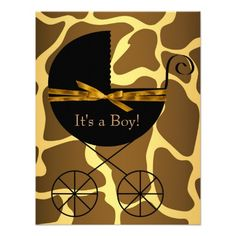 Make your own style with this Gold Brown Carriage Boy Giraffe Baby Shower Custom Invitations. Just add your photos and words to this design. Baby Shower Invitations For Boys, Baby Shower Cards, Baby Shower Themes, Shower Ideas, Black And Gold Invitations, Baby Shower Announcement, Baby Shower Giraffe, Baby Shower Supplies, Gold Baby Showers