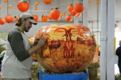 Veteran pumpkin carver Todd Desautels explained how he makes the pumpkin carvings featured at The Big E. Pumpkin Carver, The Big E, Giant Pumpkin, Pumpkin Carvings, New England, Pumpkins, Pumpkin, Squash