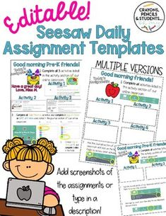 Editable Seesaw Daily Assignment Templates - Distance Learning | TpT Preschool Curriculum, Classroom Activities, Learning Activities, Teaching Technology, Student Learning, Online Classroom, First Grade Classroom, Blended Learning, Seesaw
