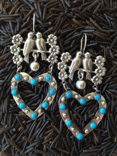 Very sweet love birds, a nice southwest combination with turquoise hearts. #turquoise #birds #hearts #Santafe #southwest  Copyright © Wanda Lobito
