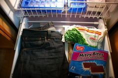 Leave your jeans overnight in the freezer to make them smell better.   Community Post: 31 Creative Life Hacks Every Girl Should Know