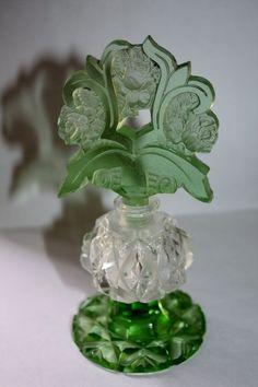 Найдено на сайте etsy.com. Art Deco Irice Czech Perfume Bottle Green Cut Glass Vanity Bottle 1920s