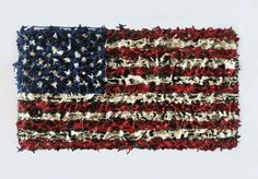 American Flag by Dave Cole, made up of thousands of plastic Toy Soldiers and acrylic paint.