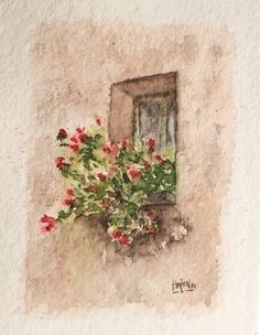 Watercolor - Window with flowers. Watercolor Postcard, Watercolor Print, Watercolor Paintings, Pictures To Paint, Art Pictures, Photos, Pencil Drawings, My Drawings, Art Impressions