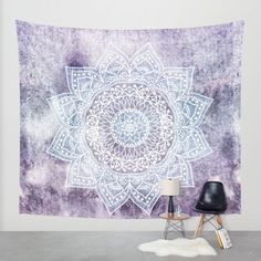 Bohemian mandala illustration in purple and blue. #mandala #illustration #wall…