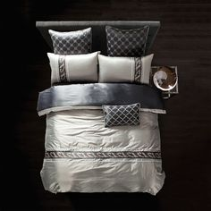 Top Grade Tencel Europe Bedding Set 4Pcs Set Duvet Cover+Sheet+Pillow Case Silk Luxury Embroidery Bed Sets Men Bedclothes Hot #Affiliate