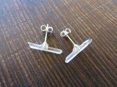 Tiny Quartz Crystal Stud Earrings Clear Raw Rough Natual Point Stone Post Ear Jewelry #azeetadesigns, #rough, #crystal, #earrings, #handmade, #jewelry, #fashion, #stud