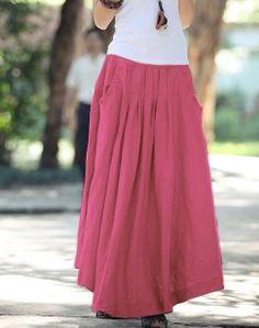 Red women skirt fashon skirts Long Skirts Linen by fashiondress6, $48.50