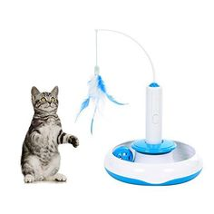 Electric Rotate Best Interactive Cat Feather Toys Teaser Motion Kitten Toys - Product Name: Electric Spinning Cat Toys Product Material: ABS Material Total Weight: 500g Product Size: Disc diameter = 17 cm/6.7 in, Height=18 cm/8 in FEATHERS Three ways to use: You can use cat toys as a plate cat toy with inside bell ball, a hand-held cat teaser with feathers, and also a spin...