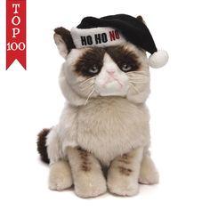 "Grumpy Cat Black Santa Hat HO HO NO Christmas 9"" # 4046085 Gund NWT #GUND"