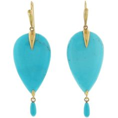 Annette Ferdinandsen Turquoise Bird Earrings ($2,970) ❤ liked on Polyvore featuring jewelry, earrings, turquoise, turquoise earrings, long teardrop earrings, 18 karat gold jewelry, long earrings and handcrafted earrings