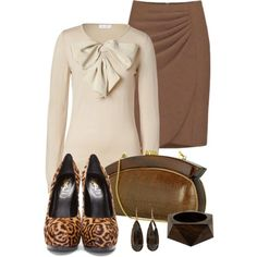 A fashion look from February 2013 featuring long sleeve shirts, brown skirt and platform shoes. Browse and shop related looks.