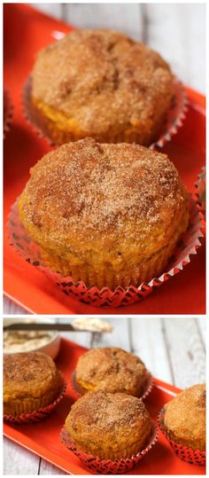 Cinnamon Sugar Pumpkin Muffins recipe. So moist and full of cinnamon, sugar, and pumpkin. Dip them in this creamy spread made of cream cheese, butter, brown sugar, and cinnamon.