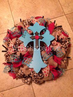 Burlap wreath w/ leopard red and turquoise www.facebook.com/wreathstoadoor