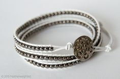 Beaded Wrap Bracelets Silver Beads White Leather Charity Delicate Handmade Jewelry Jewellery Handcrafted Craft