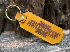 CHEVROLET Key ring Genuine leather Chevy key chain 1381 by MacksLeather on Etsy Biker Leather, Cowhide Leather, Thick Leather, Natural Leather, Chevy, Chevrolet, Leather Keyring, Split Ring, Key Rings