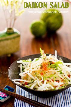 Daikon Salad with Japanese Plum Dressing (大根サラダ) | Easy Japanese Recipes at http://JustOneCookbook.com