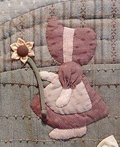 Resultado de imagem para tips for making sunbonnet sue quilt Quilt Block Patterns, Applique Patterns, Applique Quilts, Embroidery Applique, Applique Wall Hanging, Quilted Wall Hangings, Sunbonnet Sue, Crazy Quilting, Quilting Projects