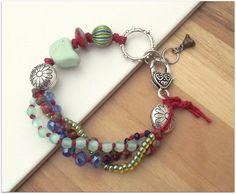Mint bird bracelet multistrand bracelet vintage by ButtonedUpBeads, £26.00