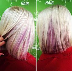 Purple slices under an ashy blonde bob! HashtagHairUK.com Info@hashtaghairuk.com 02392 17 66 90 #haircolour #hairsalon #hair #hashtaghair #purplehair