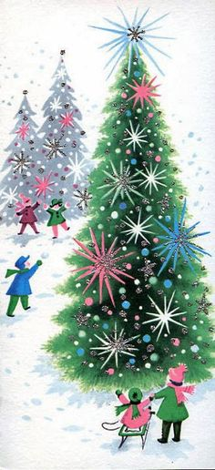 vintage mid-century Christmas tree images