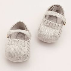 Knitted Booties – Pearl Grey Pepa  Co