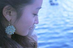 Handmade beaded flower earrings in iridescent by SALTYandPEPPER, $24.00