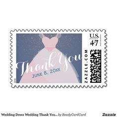 Pink Wedding Dress Wedding Bridal Thank You Stamps Purple Gold, Green And Gold, Wedding Postage Stamps, Wedding Thank You, Dress Wedding, Create Your Own, Best Gifts, Bridal, Prints