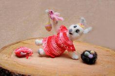 Easter decoration/Needle Felt Easter Bunny / Waldorf Easter Rabbit Soft Toy / Spring Decoration Woodland Animal / Bunny and bird