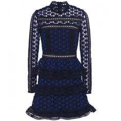 High Neck Star Lace Panel Dress ($355) ❤ liked on Polyvore featuring dresses, starry dress, lace insert dress, high neckline dress, blue dress and star patterned dress