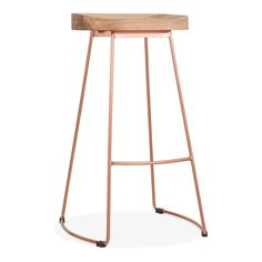 Cult Living Victoria Metal Bar Stool with Wood Seat Option - Copper 75cm