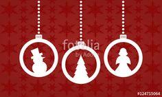 Vektor: Weihnachten - Kugeln mit Weihnachtsmotiven (Weiß)