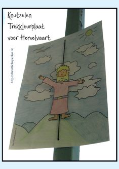 Trekplaat voor hemelvaart, knutselen bij de Bijbel met kleuters, kleuteridee.nl