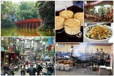 A - The red bridge at Hoan Kiem lake, B - The infamous Egg Coffee; C - Bia Hoi Corner; D - Bun Bo Nam Bo; E - The Old Quarter in Hanoi; F - BBQ Chicken Street