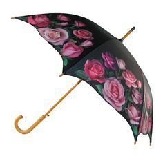 CTM® Women's Auto Open Rose Print Stick Umbrella
