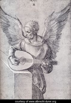 Albrecht Dürer ~ Winged Man, in Idealistic Clothing, Playing a Lute, 1497 (silverpoint on dark paper with white highlights) Albrecht Durer, Die Renaissance, Renaissance Kunst, Art And Illustration, Motif Music, Silverpoint, Italian Artist, Art Graphique, Art History