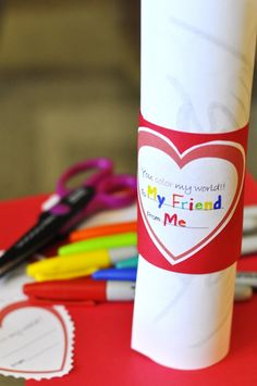 """Color My World"" Valentine (includes heart printables)      **cut and use toilet paper/paper towel tube**"