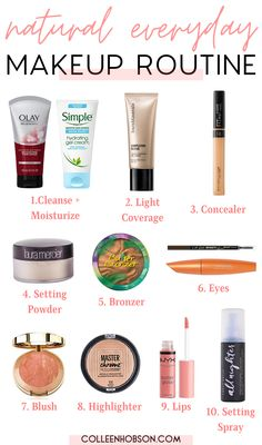 """Everyday """"no makeup"""" makeup routine that looks natural and glowy. #natural #makeup #routine #tips #everyday #look No Make Up Make Up Look, Make Up Gold, Basic Makeup For Beginners, Makeup Tutorial For Beginners, Simple Makeup Tutorial, Natural Makeup For Brown Eyes, Natural Makeup Tips, Natural Everyday Makeup, Everyday Makeup Routine"""