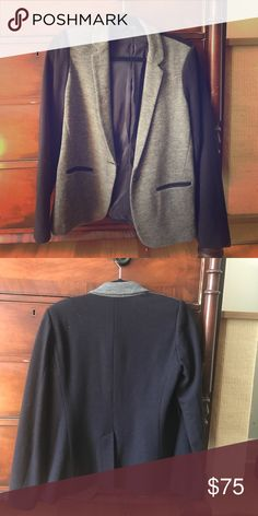J Crew Contrast Knit Blazer Never worn slim cut wool and cotton gray and navy J Crew blazer. New without tags. J. Crew Jackets & Coats Blazers