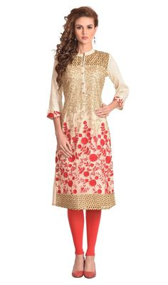 Mesmerize the world dressed up in this beige color embroidered cotton and net tunic. The ethnic butta, floral patch, lace, resham and sequins work in kurti adds a sign of splendor statement with a look. #NewGorgeousDesignOfKurtiCollection