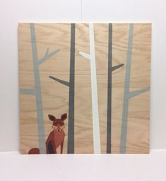 Large hand painted Woodland Fox on Wood, Woodland Nursery, Plywood Art, Fox Painting, Nursery Decor, Kids Wall Art, Fox Nursery Art,