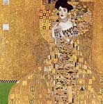 Portrait of Adele Bloch-Bauer I by Gustav Klimt; Cross stitch by Scarlet Quince