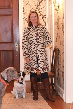 Katie Chatas wearing the Barga Jacket in zebra pattern in her home in Columbus, Ohio. (Oct. 2012)