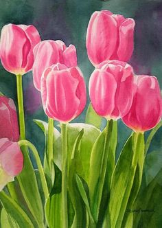Rosy Pink Tulips Painting by Sharon Freeman - Rosy Pink Tulips Fine Art Prints and Posters for Sale by Lisha Travis Watercolor Landscape, Watercolor Flowers, Watercolor Paintings, Watercolors, Flower Paintings, Abstract Flowers, Tulip Painting, Pink Tulips, Arte Floral
