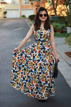 Multi-colored, A-line, Shift maxi dress. Frock Fashion, Women's Fashion Dresses, Cute Preppy Outfits, Casual Frocks, Frock Patterns, Ikkat Dresses, Long Skirt Outfits, Kurti Designs Party Wear, Girls Fashion Clothes