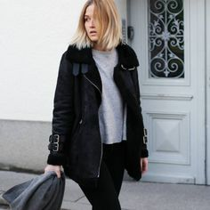 tifmys - Pepe Jeans Shearling jacket, Zara sweater & Acne Canada scarf.