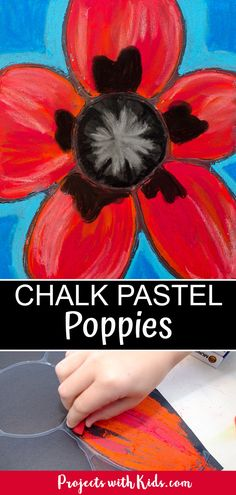 Kids will be inspired by Georgia O'Keeffe and her beautiful flower paintings to create these gorgeous chalk pastel poppies! #projectswithkids #chalkpastels #kidsart #georgiaokeeffe Remembrance Day Activities, Remembrance Day Poppy, Chalk Pastel Art, Chalk Pastels, Oil Pastels, Chalk Art, Poppy Craft For Kids, Art For Kids, Flower Crafts