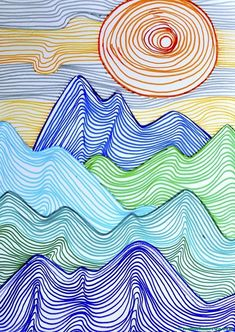 Lines can depict any shape; they can create tridimensional effects and give the perception of movement. I did this drawing with grade students, in order to create a mountain landscape using jus… to drawing mountains Mountains made up of lines Line Art Projects, School Art Projects, Garden Projects, Middle School Art, Art School, Elements Of Art Line, Jr Art, 6th Grade Art, Elementary Art