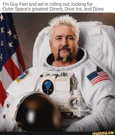 ['m Guy Fieri and we're rolling out, looking for Outer Space's greatest Diners, Drive Ins, and Dives - iFunny :) Funny Car Memes, Car Humor, A Funny, Disney Food, Disney Recipes, Bobby Flay Recipes, Alton Brown, Guy Fieri, Chicken Wing Recipes