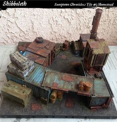 The pic from eye level really highlights the excellent choice of colours, the rust, light blue and hazard striping really pop against Warhammer Terrain, 40k Terrain, Game Terrain, Wargaming Terrain, Warhammer 40k, Fallout 4 Settlement Ideas, Post Apocalypse, Just In Case, Decoration
